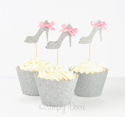 Silver High Heel Cupcake Toppers