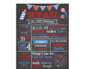 Little Firecracker Birthday chalkboard,sign,party,poster,firework,4th of july,chalkboard