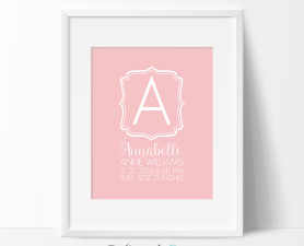 Chic Baby Girl Birth Stats Print, Birth Stats Print, Birth Announcement