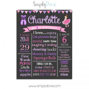 Ballerina Birthday Chalkboard,ballerina birthday party,ballerina party,birthday chalkboard,first brithday,poster,sign,birthday,chalkboard,blackboard,party,theme