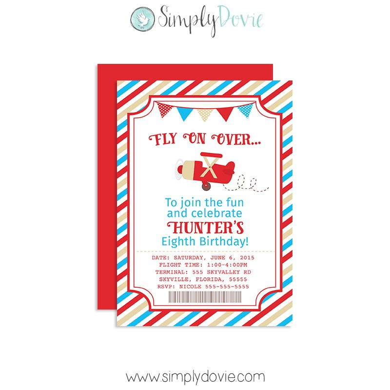 Vintage Airplane Birthday Invitation Party First