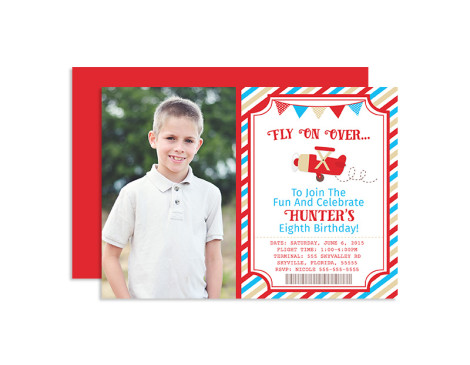 Vintage Airplane Birthday Invitations,invitations,invites,birthday,party,pilot,vintage airplane,plane,airplane,boys,theme