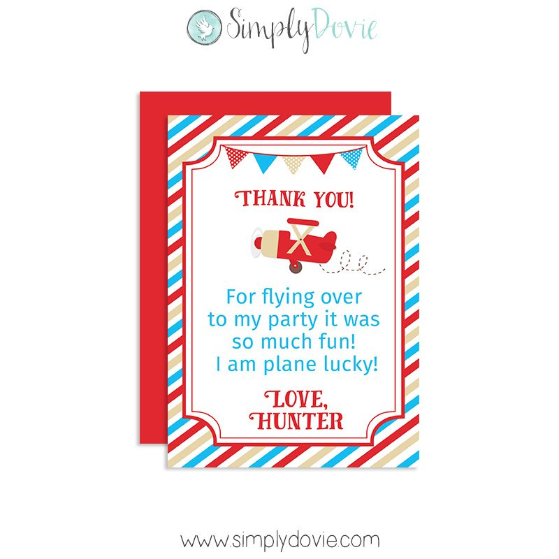 Vintage Airplane Birthday Thank You Card Party