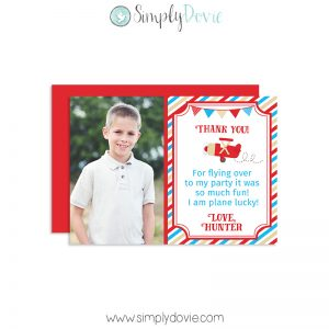 Vintage Airplane Birthday Thank You Cards,thank you,birthday,party,vintage,plane,pilot,boys,theme,first year