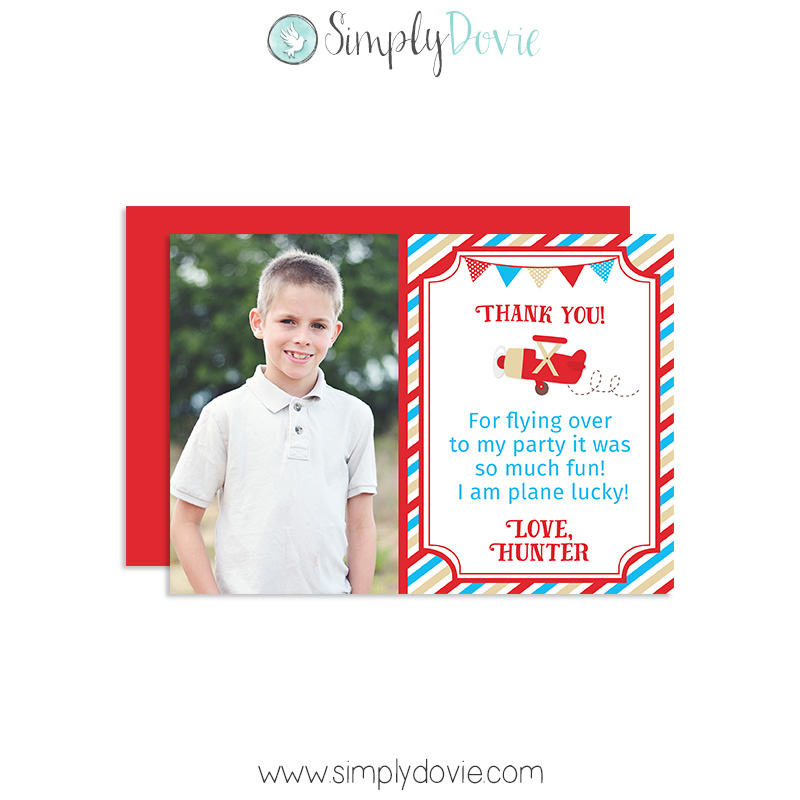Vintage Airplane Party Thank You Cards