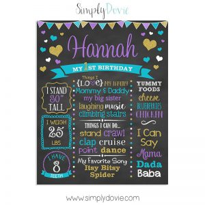 Chic Heart First Birthday Chalkboard,first birthday chalkboard,birthday chalkboard,birthday,poster,sign,chalkboard,party decorations,first birthday