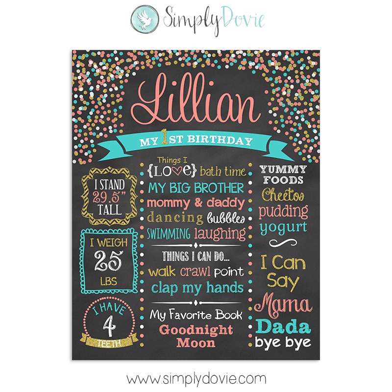 first birthday chalkboard, birthday chalkboard, first birthday,birthday decorations,chalkboard sign,chalkboard poster,birthday sign,birthday poster,polka dot,confetti,sprinkles,