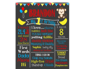 safari,monkey,birthday,chalkboard,sign,poster