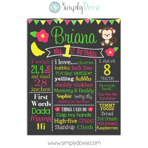 cute,safari,monkey,birthday,chalkboard,sign,first birthday,poster