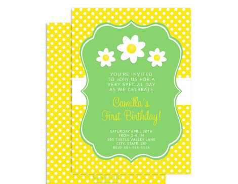 Daisy Birthday Invitation, Daisy Birthday Party