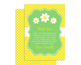 Daisy Birthday Thank You Card, Daisy Birthday Party