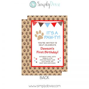 Puppy Dog Paw-ty Birthday Invitation