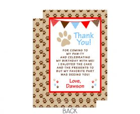 Puppy Dog Paw-ty Birthday Thank You Card