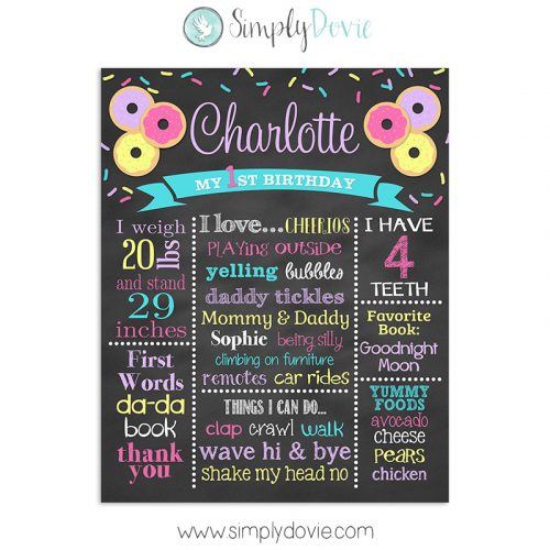 Donut Birthday Chalkboard Sign, Donut Birthday Party, Donut Party Decorations, Donut Milestone Sign, Donut First Birthday, Donut Favorite Things Sign, Donut Birthday