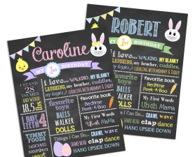 easter bunny birthday chalkboard,first birthday chalkboard,bunny birthday,chalkboard signs,birthday chalkboards,easter themed birthday party,