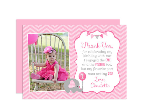 Elephant Thank You Card, Elephant Birthday Thank You, Elephant Birthday