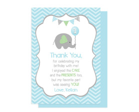 Elephant birthday thank you card, Elephant Birthday Decorations, Elephant Birthday