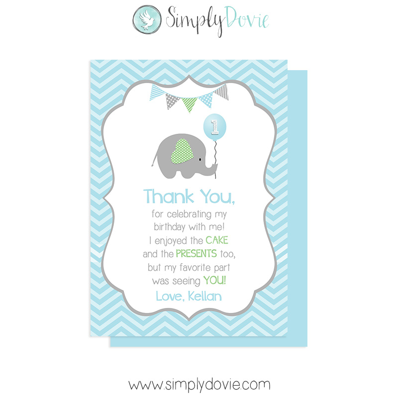 Little Peanut Elephant Birthday Thank You Card Boy