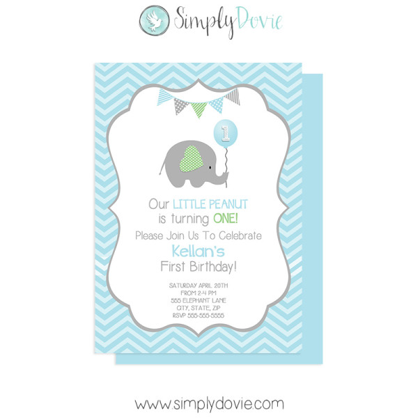 Little Peanut Elephant Birthday Invitation With Photo – Elephant Party Invitations