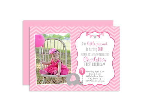 Elephant Birthday Invitation, Elephant First Birthday