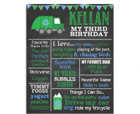 Garbage Truck Birthday Chalkboard, garbage truck birthday party,garbage truck theme