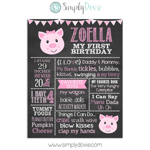 first birthday chalkboard, birthday chalkboard, first birthday,birthday decorations,chalkboard sign,chalkboard poster,birthday sign,birthday poster,pig birthday,piglet