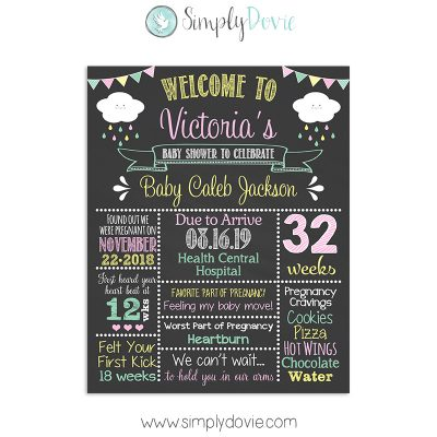 Happy Clouds Baby Shower Decorations, Happy Clouds Baby Shower, Cloud Sprinkle Baby Shower, Baby Shower Sign