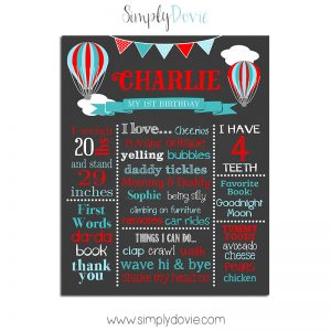 Hot Air Balloon Birthday Chalkboard