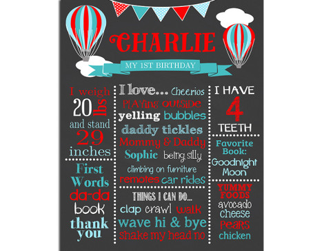 Hot Air Balloon Birthday Chalkboard,first birthday chalkboard,birthday chalkboard,poster,sign,hot air balloon,up up and away,party,theme,birthday,chalkboard