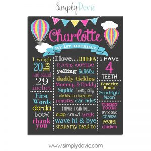 Hot Air Balloon First Birthday Chalkboard
