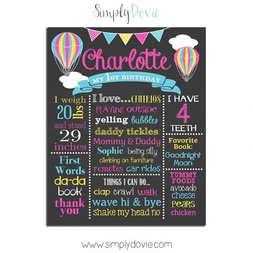 Hot Air Balloon First Birthday Chalkboard,balloon,birthday,hot air balloon,up up and away,theme,birthday chalkboard,first birthday chalkboard,poster,sign,favorite things