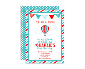 Up up and away birthday invitation,invitation,birthday,hot air balloon,balloon,party,theme,birthday