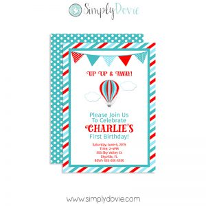 Up up and away birthday invitation