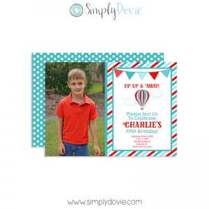 Hot Air Balloon Invitation Hot Air Balloon Birthday Party, Hot Air Balloon Invite