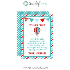 hot balloon birthday thank you card