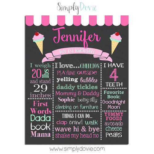 Ice Cream Shoppe Birthday Chalkboard,ice cream birthday party,ice cream birthday,party,theme,chalkboard,poster,sign,first year,favorites sign,birthday stats,birthday sign