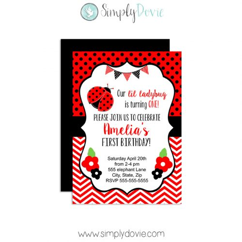 Ladybug Birthday Invitations,invites,birthday,party,theme,ladybug,lady bug party,spring birthday,