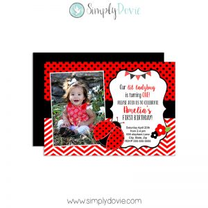 Ladybug Birthday Invitations,invitations,invite,ladybug,lady bug,birthday,party,theme,first year,girls,baby