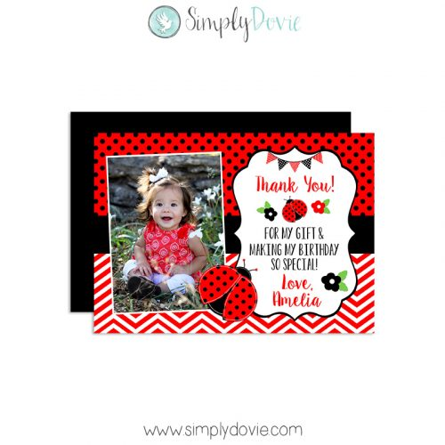 Ladybug Birthday Thank You Card,thank you,ladybug, lady bug, party,theme, first year,girls,spring,summer,garden