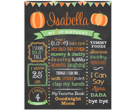 Lil Pumpkin Birthday Chalkboard,birthday,party,pumpkin,fall,halloween,lil pumpkin,little pumpkin,poster,sign,birthday,party