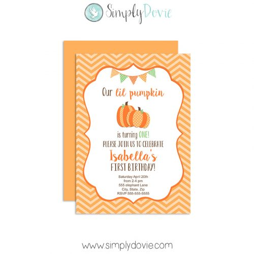 Lil Pumpkin Birthday Invitations,lil pumpkin birthday,party,theme,invitations,invites,first year,birthday,fall,halloween,cute,