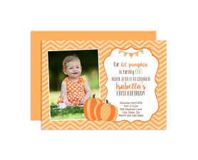 Lil Pumpkin Birthday Invitations,lil pumpkin,birthday,party,invitations,invites,ideas,theme,first year,girls,cute,fall,halloween