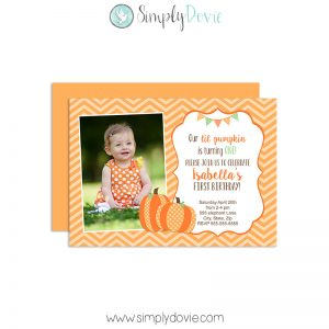 Lil Pumpkin Birthday Invitation