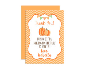Lil Pumpkin birthday thank you cards,lil pumpkin,birthday,party,little pumpkin,theme,girls,first year