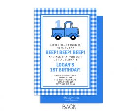 Little Blue Truck Birthday Invitation, Blue Truck Birthday Invite