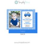 Little Blue Truck Birthday Invitation, Blue Truck Birthday Invite Photo Plaid