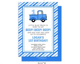 Little Blue Truck Birthday Invitation, Blue Truck Birthday Invite Photo