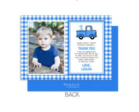 Little Blue Truck Thank You Photo Plaid