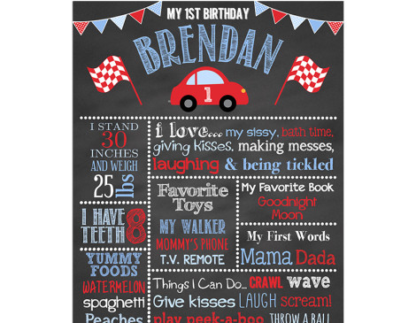 Little Red Car Birthday Chalkboard,car,red,car,birthday,party,chalkboard,sign,poster