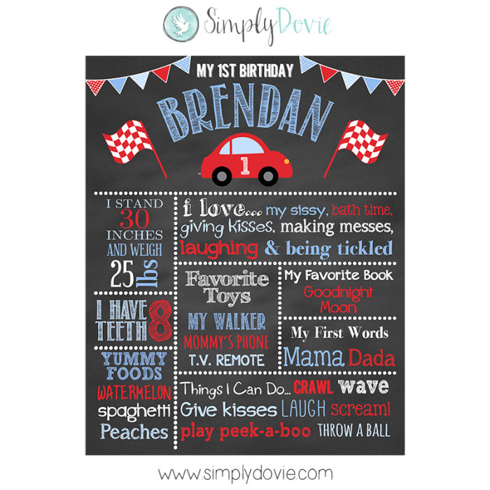 Little Red Car Birthday Chalkboard
